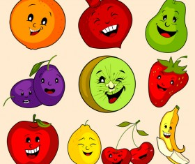 Cute cartoon fruits vectors set