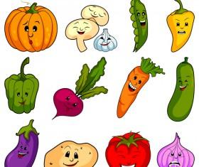 Cute cartoon vegetable vectors set