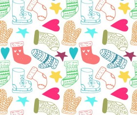Cute doodle christmas seamless pattern vector 01