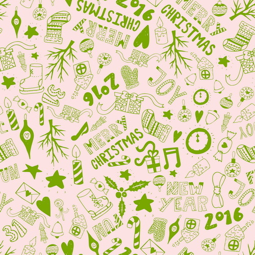 Cute doodle christmas seamless pattern vector 03
