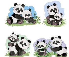 Cute panda baby with mother vector