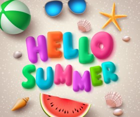 Cute summer beach travel vector material 02