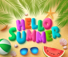 Cute summer beach travel vector material 03