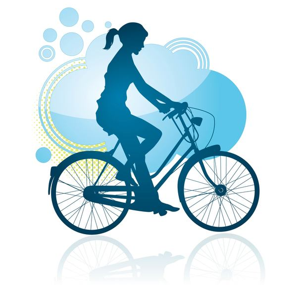 Cycling girl silhouette vector