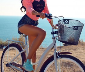 Cyclist pretty girl Stock Photo 03