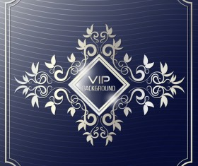 Dark blue VIP background with golden decor vector