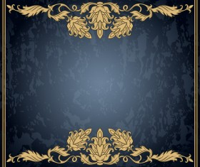 Dark blue grunge background with retro frame and decorative vector 01