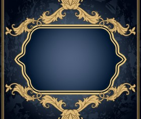 Dark blue grunge background with retro frame and decorative vector 04