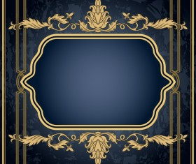 Dark blue grunge background with retro frame and decorative vector 05