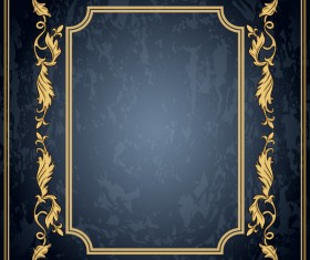 Dark blue grunge background with retro frame and decorative vector 06