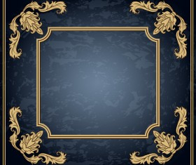 Dark blue grunge background with retro frame and decorative vector 07
