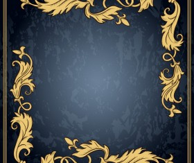Dark blue grunge background with retro frame and decorative vector 08