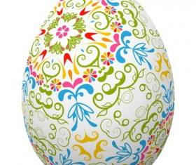 Decoration floral with easter egg vector 01