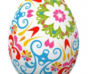 Decoration floral with easter egg vector 02