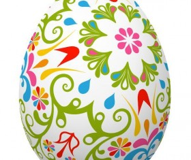 Decoration floral with easter egg vector 03