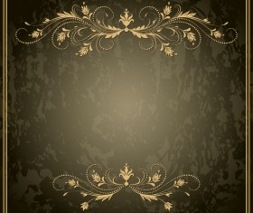 Decorative floral with retro frame vectors 02