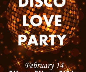 Disco love party poster vector template 01