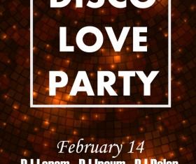 Disco love party poster vector template 03