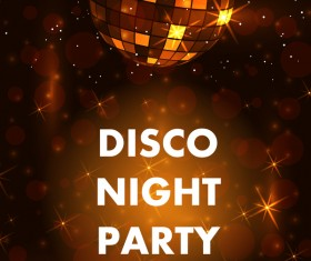 Disco night party poster with neon background vector