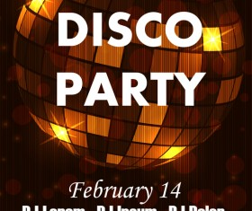 Disco party poster with flyer template vector 01