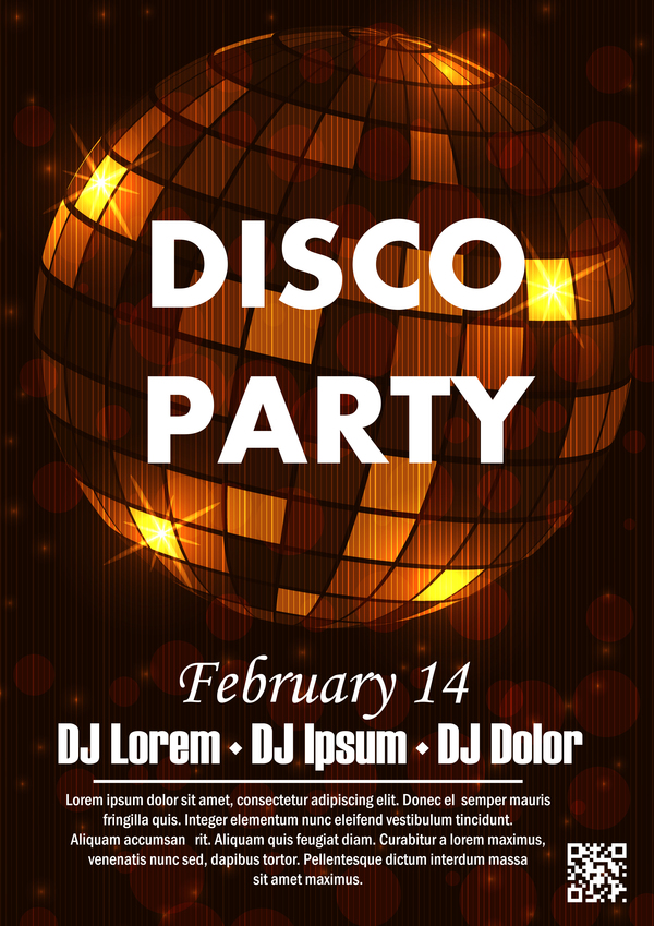 Disco party poster with flyer template vector 01 free download