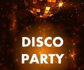 Disco party poster with flyer template vector 02