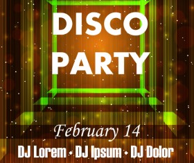 Disco party poster with flyer template vector 03
