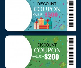 Discount coupon template vector 02