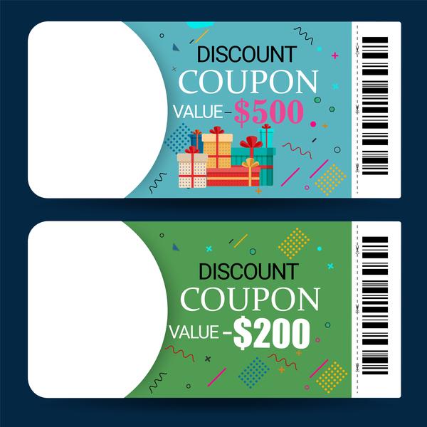 Discount coupon template vector 02