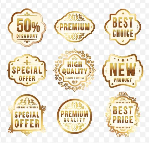 Discount with special offer golden labels vector