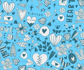 Doodle heart seamless pattern vector 01