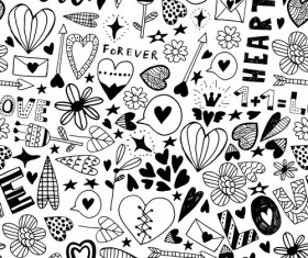 Doodle heart seamless pattern vector 02