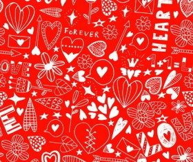 Doodle heart seamless pattern vector 03