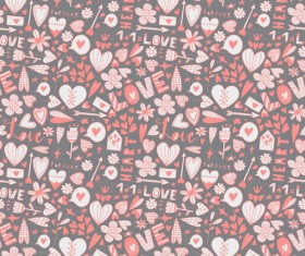 Doodle heart seamless pattern vector 04