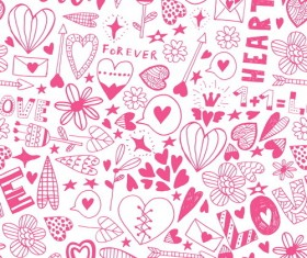 Doodle heart seamless pattern vector 05