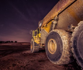 Dump truck under the night Stock Photo