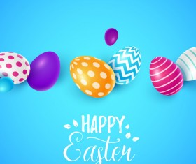 Easter egg with blue backgrounds vector 01