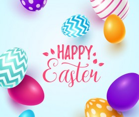 Easter egg with blue backgrounds vector 03