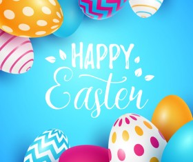 Easter egg with blue backgrounds vector 04