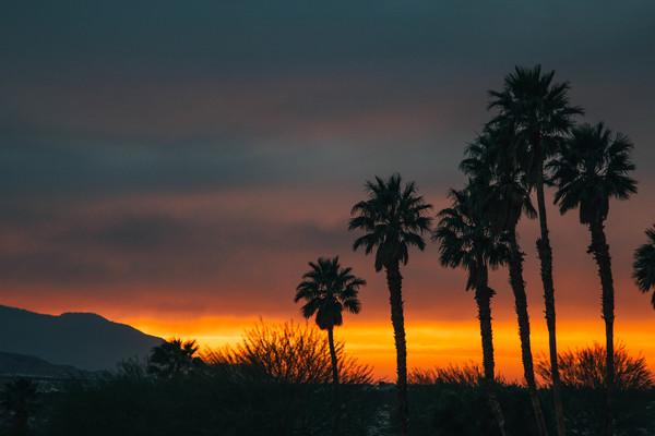 Empty dark sunset on mountain Stock Photo
