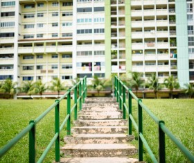 Empty staircase leading to residential building Stock Photo