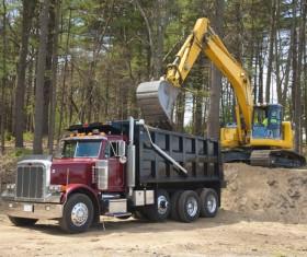 Excavator and dump truck Stock Photo 03