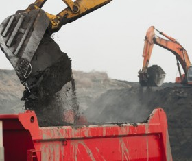 Excavator and dump truck Stock Photo 04