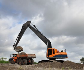 Excavator and dump truck Stock Photo 05