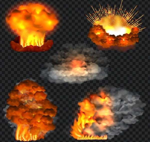 Explosion and fire effect vector illustration