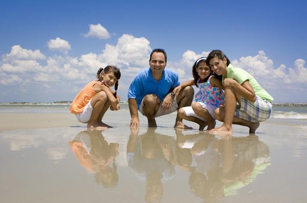 Family Vacation Beach group photo Stock Photo 02