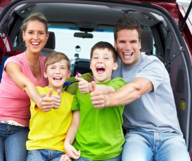 Family self driving tour Stock Photo 02