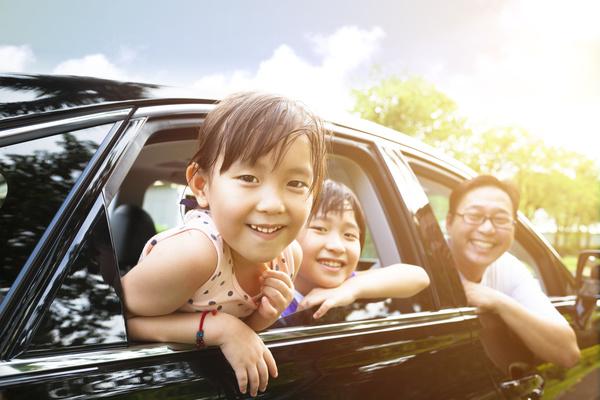 Family self driving tour Stock Photo 05