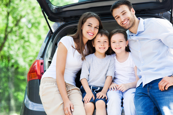 Family self driving tour Stock Photo 06