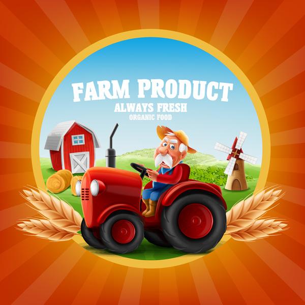 Farm organic food label vector 02